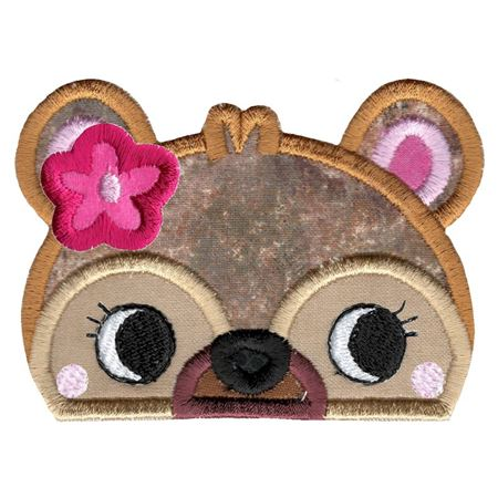 Girl Bear Animal Topper Applique
