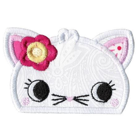 Girl Cat Animal Topper Applique