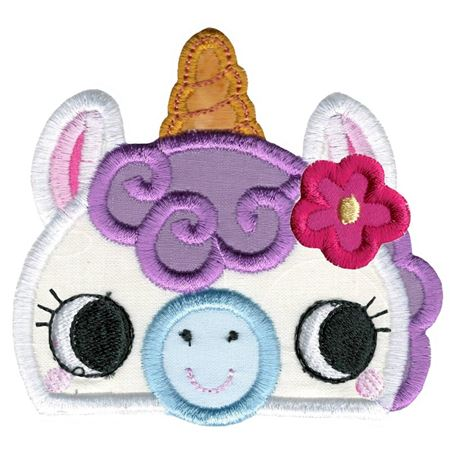 Girl Unicorn Animal Topper Applique