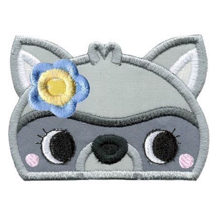 Girl Racoon Animal Topper Applique