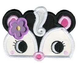 Girl Skunk Animal Topper Applique