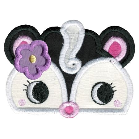 Girl Skunk Animal Topper Applique