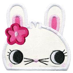 Girl Bunny Animal Topper Applique