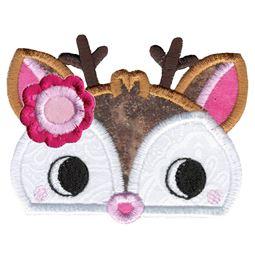 Girl Deer Animal Topper Applique