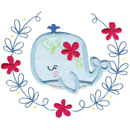 Applique Whale Laurel