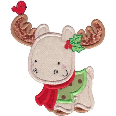 Applique Christmas Moose
