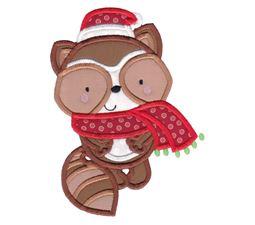 Applique Christmas Raccoon
