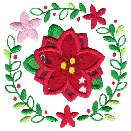 Applique Poinsettia Laurel