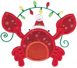 Applique Christmas Crab