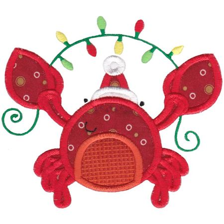 Applique Christmas Crab