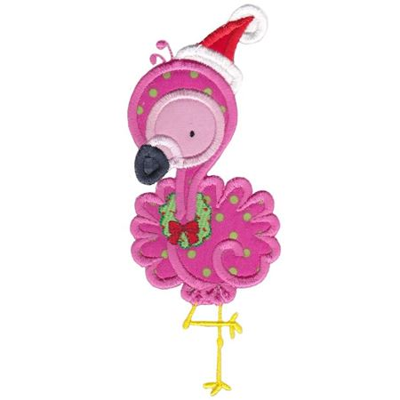 Applique Christmas Flamingo