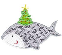 Applique Christmas Shark