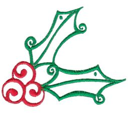 Baroque Swirly Christmas Holly
