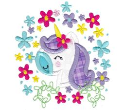 Floral Unicorn Face Applique