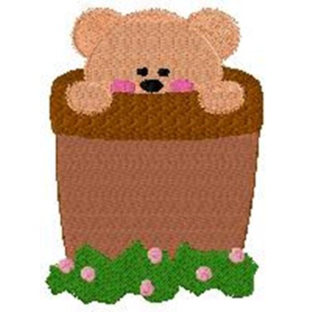 Bear in flower pot