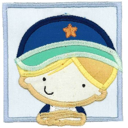 Boy Wearing Baseball Cap Applique