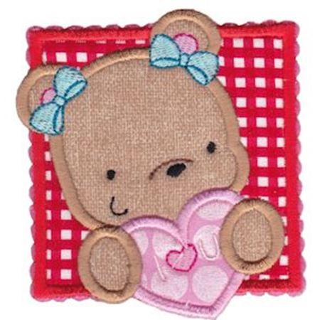 I Love You Girl Bear Applique