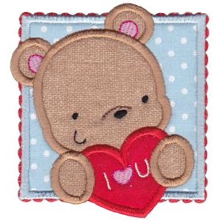 I Love You Boy Bear Applique