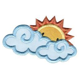 Sun Peeking Behind Clouds Applique