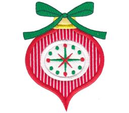 Red Retro Christmas Ornament with Bow Applique