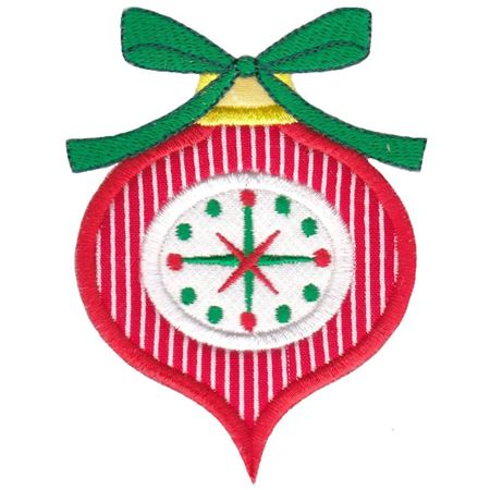 Red Retro Christmas Ornament with Bow Applique
