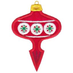 Red Retro Pointed Christmas Ornament Applique