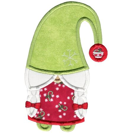 Girl Gnome With Droopy Hat Applique