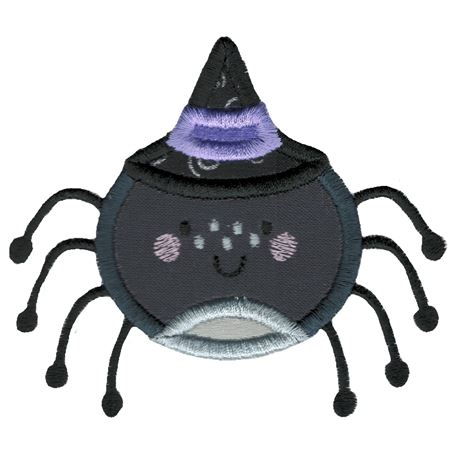 Applique Spider Wearing Witches Hat