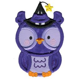 Applique Thin Owl Wearing Witches Hat