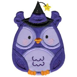 Applique Round Owl Wearing Witches Hat
