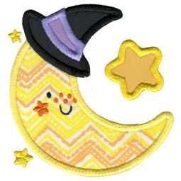 Applique Moon Wearing Witches Hat