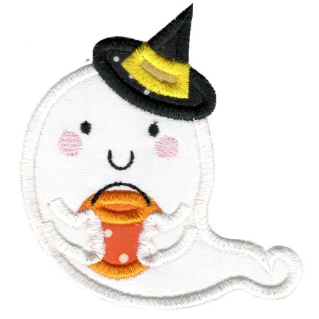 Applique Ghost Wearing Witches Hat