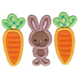 Carrots and Bunny Trio Applique