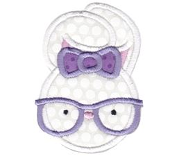 Hipster Girl Bunny Applique