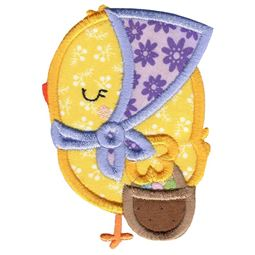 Girl Chick and Easter Basket Applique
