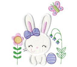 Easter Bunny Garden Applique