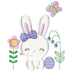 Easter Bunny Garden Applique