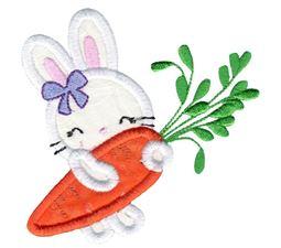 Girl Bunny and Carrot Applique