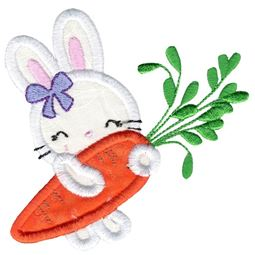 Girl Bunny and Carrot Applique