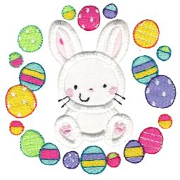 Bunny and Easter Eggs Laurel Applique