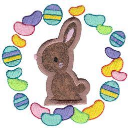 Chocolate Bunny Laurel Applique
