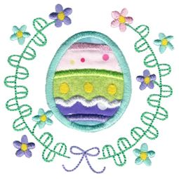 Striped Easter Egg Laurel Applique