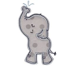 Boy Elephant Spraying Water Applique