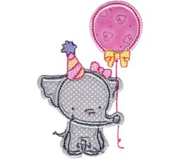 Birthday Girl Elephant Applique