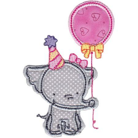 Birthday Girl Elephant Applique