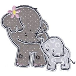 Mommy and Baby Elephant Applique