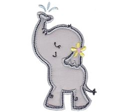 Girl Elephant Spraying Water Applique