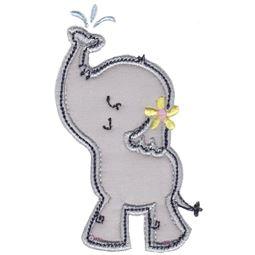 Girl Elephant Spraying Water Applique