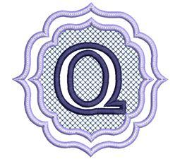 Embossed Monogram Font Q