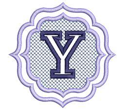 Embossed Monogram Font Y